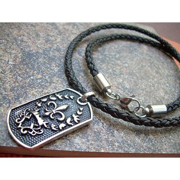 Fleur De Lis Necklace, Mens Jewelry, Mens Necklace, Braided Leather Necklace, Fleur De Lis Pendant,Stainless Steel, Groomsmen, Mens Gift