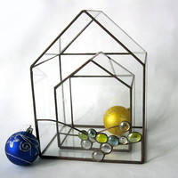 Geometric terrariums houses set of 2/Large and small terrariums/Christmas decor