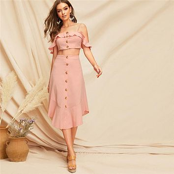 Pink Glamorous Ruffle Trim Cami Crop Top And Buttoned Curved Hem Skirt Set Vacation Women Two Piece Outfits