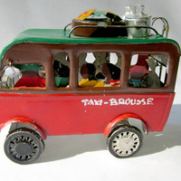 Tin Car Toy Taxi Madacgascar Bush Vehicle Made From Recovered Materials
