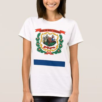Women T Shirt with Flag of Wes Virginia