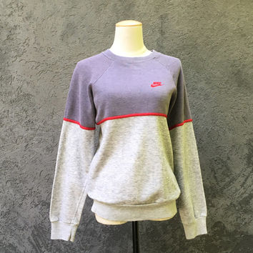 Old School Hip Hop Vintage 80s 1980s NIKE Two Tone Gray Heather Gray Medium Sweatshirt Blue Tag Made in USA 50/50 M Med