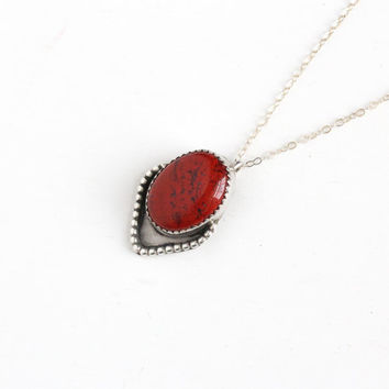 Vintage Sterling Silver Jasper Necklace  - Retro Boho Southwestern Native American Large Oval Red Black Color Pendant Studded Unisex Jewelry