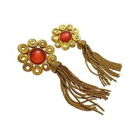 Pre-owned Etruscan-Style Scroll Work Tassel Earrings