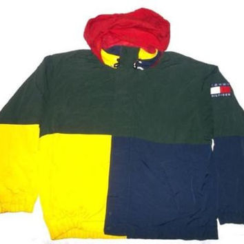 vintage 90s tommy hilfiger jacket hooded windbreaker winter sailing gear jacket