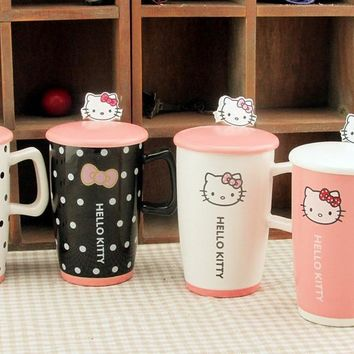 Best Deal Creative Kawaii Cartoon Novelty Hello Kitty Business Gift Mug Cute Summer Cool Drink Milk Coffe Juice water Cup BW061