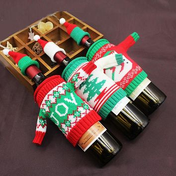 Christmas Red Wine Bottle Sets Knit Sweater Beer Bottle Decorations