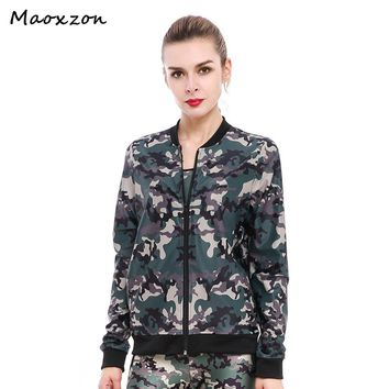 Maoxzon Women's Army Green Camouflage Print Zip-up Athleisure Long Sleeve Pullover Hoodie