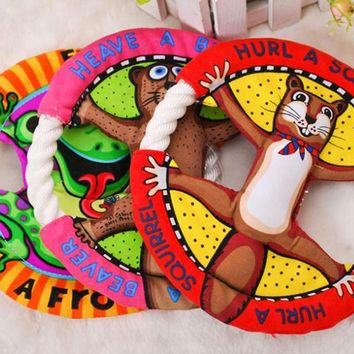 Pet Toys Fat Cats Cartoon Frisbee Molar Tooth Cleaning Dog Toys Cat Toys Pet Supplies UFO Toys 3 Color