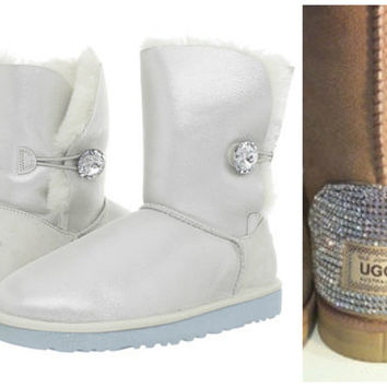 Swarovski Crystal Embellished Limited Edition Bailey Button Uggs - Winter / Holiday Bling UGGs 2013