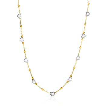 14K Two-Tone Yellow and White Gold Heart and Chain Necklace