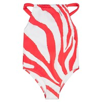 Girls Red and White Zebra Swimsuit