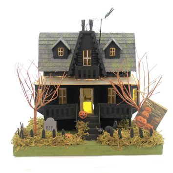 Halloween HAUNTED HOUSE. Paper Bats Black Cat R.I.P. Graveyard Lc4542