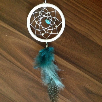 Dream Catcher for Car Mirror- White, Turquoise, Silver Beads
