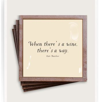 When There's A Wine, There's a Way Copper & Glass Coasters, Set of 4