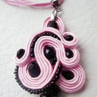 Rose soutache pendant, Woman pendant for necklace, Rose black soutache pendant, Woman necklace, Handmade unique soutache, Unique gift ideas