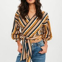Missguided - Yellow Tie Blouse