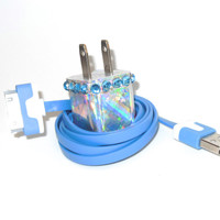 Holographic Blue Bling iPhone Charger with Color USB Cable