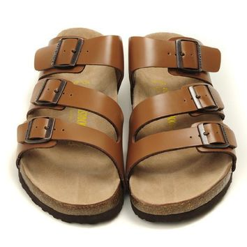 Birkenstock Leather Cork Flats Shoes Women Men Casual Sandals Shoes Soft Footbed Slippers-193