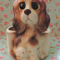 Adorable Vintage Lefton Dog Cocker Spanial Planter Big Eyes Cute Kitsch