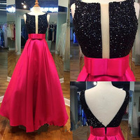 Elegant Beading Black Top Red Dress Prom Dress