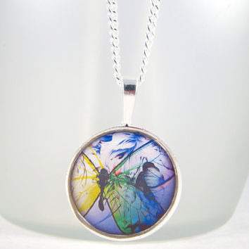Abstract Butterfly Epoxy Resin Pendant Necklace Picture Image Pendant Antique Silver Fashion Jewelry