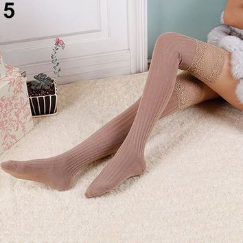 Women Knitting Lace Cotton Over Knee Thigh High Socks Pantyhose 7 Colors
