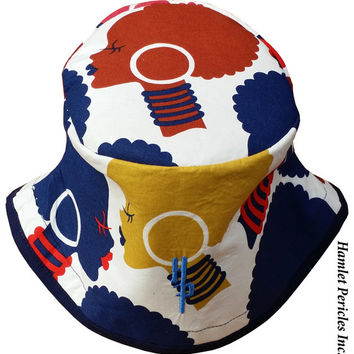 African Queen Blue Brim Bucket Hat   Afro   Afrocentric Hat   Natural Hair Hat   African Silhouette   Red Blue Gold Hat by Hamlet Pericles