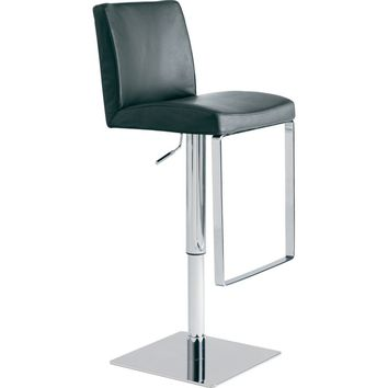 Matteo Adjustable Height Bar or Counter Stool Black Top Grain Italian Leather