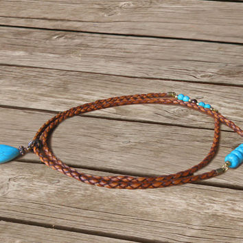 Braided Leather Necklace - Long Bohemian Necklace - Turquoise Pendant Necklace - Saddle Brown leather Cord Necklace - Stone Necklace
