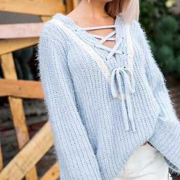 Tie Front Soft Bell Sleeve Sweater