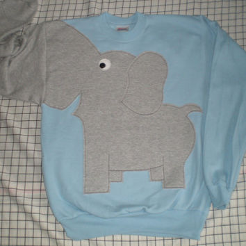 Elephant sweater, elephant Trunk sleeve sweatshirt, elephant sweatshirt, elephant jumper, UNISEX size small, powder blue