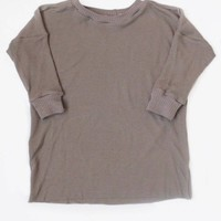Toddler baby girl boy thermal knit ringer drop sleeve top in stone