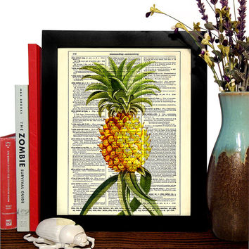 Pineapple, Tropical Fruit Vintage Illustration, Eco Friendly Home, Kitchen, Bathroom, Nursery Decor, Dictionary Book Print Buy 2 Get 1 FREE