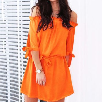 Fashion New Solid Color Strapless Short Sleeve Dress Women Orange