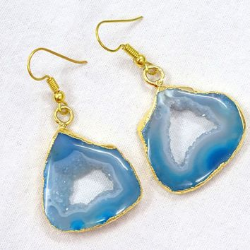 Teal Blue Earrings Geode Agate Crystal DRUZY DRUSY Gold Electroplated Fish Hook.