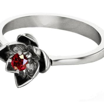 White Gold Ruby Flower Ring Lotus Ring Art Nouveau unique Engagement ring Flower ring Red Floral ring 18K Yellow gold Engagement gift