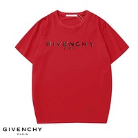 Givenchy Fashion New Sumemr Bust Letter Print Women Men Sports Leisure Top T-Shirt Red