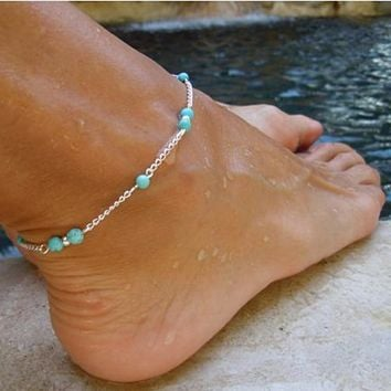 Mermaid Anklet Turquoise Beads On Silver Chain
