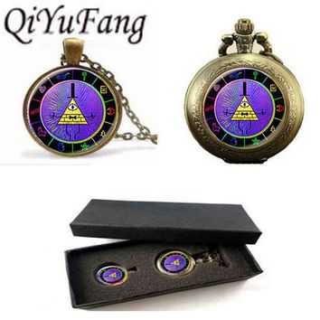 Vintage Steampunk Drama Gravity Falls Mysteries BILL CIPHER WHEEL Pendant Necklace pocket watch with free box