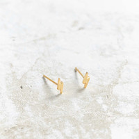 Seoul Little 24K Gold Plated Lightning Bolt Post Earring - Urban Outfitters