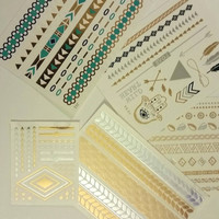 Gold, silver, Turquoise flash tattoo mystery set of 3 individual tatoos. Metallica temporary tattoo, Gold, silver, temporary tattoos