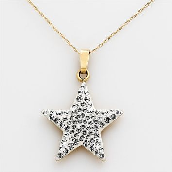 Gold 'N' Ice 14k Gold Crystal Star Pendant - Made with Swarovski Elements (White)