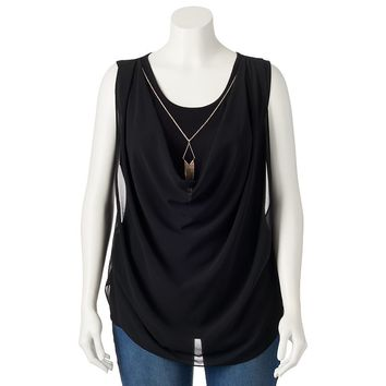 IZ Byer California Drapeneck Tank Top with Necklace - Juniors' Plus, Size: