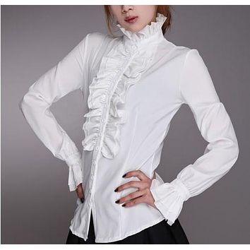 Women Lady Victorian OL Shirt Frilly Ruffle Tops Flounce Blouse Clothes Formal Work Party Long Sleeve White Black Shirts