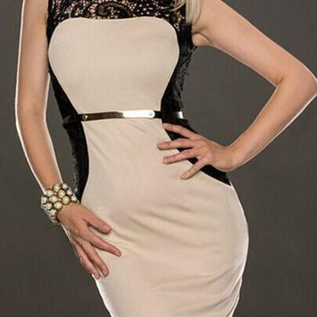 Streetstyle  Casual Apricot Patchwork Lace Belt Sleeveless Fashion Mini Dress