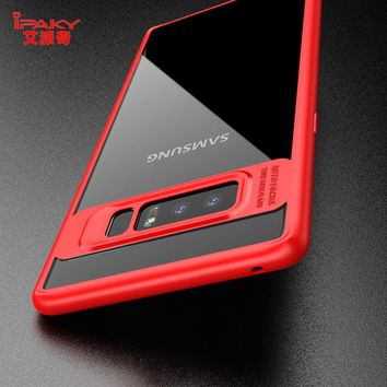 iPaky Case for Samsung Galaxy Note 8 Note8 Fashion Hybrid Transparent Hard PC Back Cover Soft Rubber Silicone Frame Phone Fundas