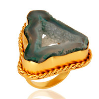 Handcrafted Natural Yellow Gold Plated Over Brass Druzy Agte Ring