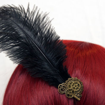 Steampunk fascinator hair clip jewelry with ostrich feathers gears vintage key cameo