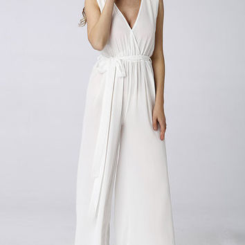 White Sheer-Through Self-Tie Wide Leg Trousers Jumpsuit